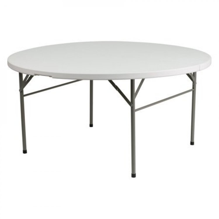 5' Round Folding Table - White