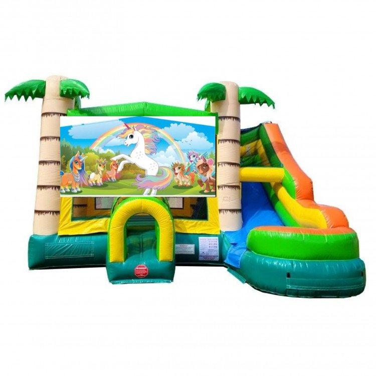 Unicorn Theme Tropical Bounce Water Combo
